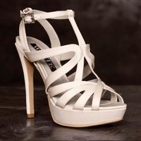 Satin Caged Strappy Platform Sandal - David's Bridal
