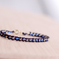 Feminine thin blue line bracelet, woven gold chain friendship bracelet, black and blue thread, recycled materials