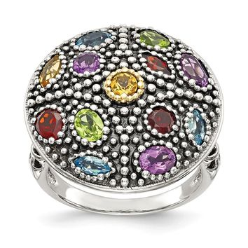 Sterling Silver Two Tone Silver And Gold Plated Sterling Silver w/Antiqued Multi Gemstone Ring