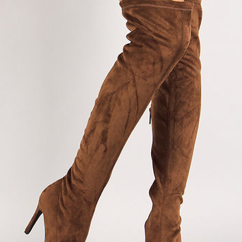 Breckelle Vegan Suede Stiletto Over-The-Knee Boot