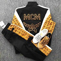 PUMA X MCM Black/yellow Trending Fashion Women Men Wing Print Coat Jacket Trouser Two Piece Suit