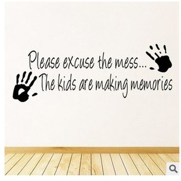 please excuse the mess quote fashion Wall Sticker Waterproof Removable PVS Vinyl Art Decor Home Decor