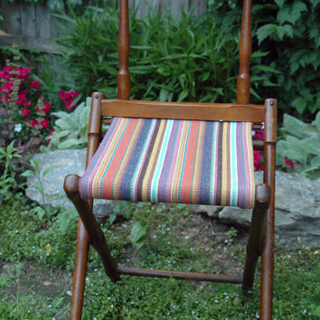 Vintage Folding Camp Chair Wood Campaign by territoryhardgoods