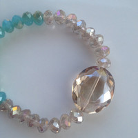 The Poppy Bracelet - Aqua and Champagne Glass Crystals