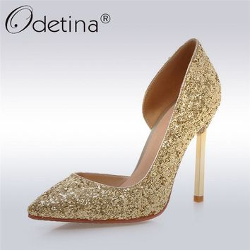 Odetina 2017 New Fashion Women Glitter High Heels Pointed Toe D'orsay Ladies Stiletto Sexy Pumps Party Wedding Shoes Big Size 43