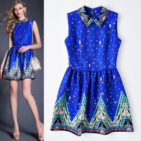 Dark Blue Lapel Collar Sleeveless Printed  A-Line Mini Dress