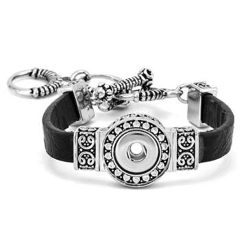 DCCKAB3 Ginger Snaps Petite One-Snap Black Filigree Bracelet GP90-03