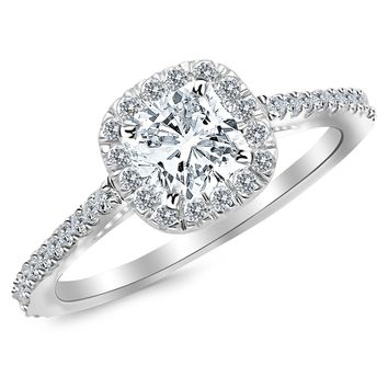 CERTIFIED | 1.60 Carat Cushion Cut/Shape 14K White Gold Gorgeous Classic Cushion Halo Style Diamond Engagement Ring( K-L Color , VVS2-VS1 Clarity ) (Platinum, Yellow, White, Rose)