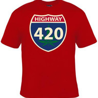 Tshirt: highway 420 driving sign UNIQUE Cool Funny Humorous clothes T Shirts Tees, Rude Tees T-Shirt designs graphic