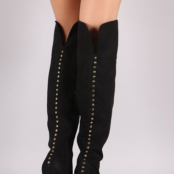 Bamboo Suede Studded Back Chunky Heeled Boots