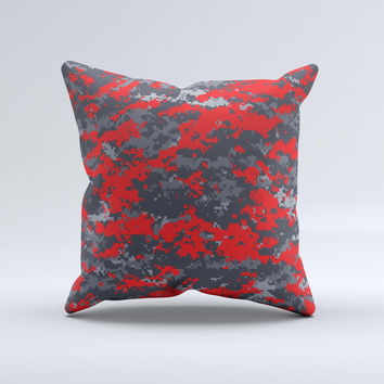 Red and Gray Digital Camouflage  Ink-Fuzed Decorative Throw Pillow