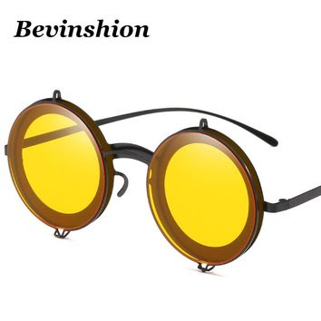 Vintage Prince Round Sunglasses Women Metal Couple Gothic Steampunk Sunglasses Men Punk Glasses Men Red Pink Yellow Night Vision