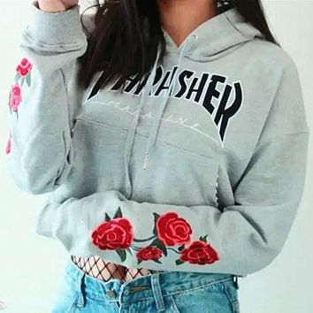 Thrasher Fashion Trending Embroidery Rose Long Sleeve Print Hoodie Top Sweater Pullover Sweatshirt Grey