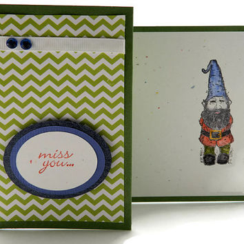 Miss You Cards, Handmade Greeting Card, Gnome Card, Green and White Chevrons