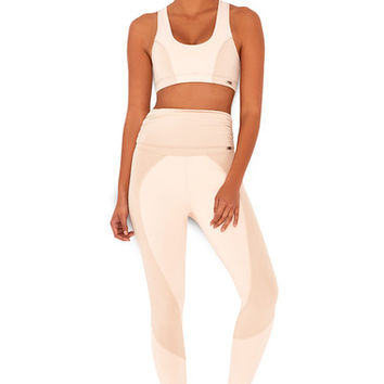 Work-Out Wear : 'Chill' Nude & Blush Workout Leggings with Fold Over Waistband