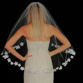 $115.00 Fingertip Length Silk Flower Edged Bridal Veil Swarovski Crystals by pureblooms