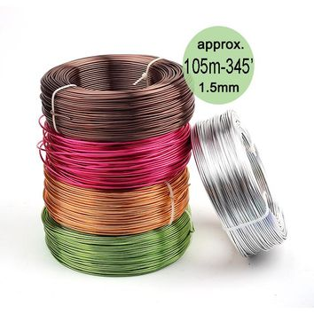0.5kg Anodized Artistic Aluminum Craft Wire 1.5mm 14 Gauge 105m 115yd Colored Jewelry Soft Metal Wire Permanent Colors