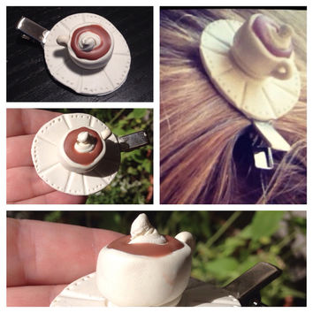 Hot coco coffee cup barrette hair accessories