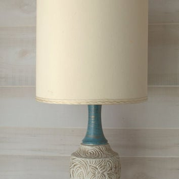 Teal and White Ceramic Lamp, Shabby Chic Table Lamp, Mid Century Gilt Lamp
