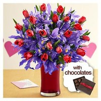 Deluxe Hugs and Kisses with Cherry Trumpet Vase & Chocolates - Flowers