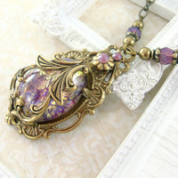 Neo Victorian Cabochon Necklace - Antique Brass Vintage Style Jewelry - Amethyst Opal Victorian Necklace Antique Style Victorian Jewelry