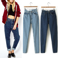 American Apparel AA Street Fashion Lady Retro High Waist Denim Jeans Harem Pants Trousers Legging 2016 New Listing 2 Colors