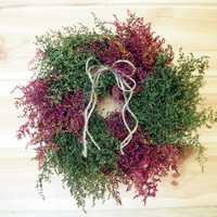 Simple Country HERBAL Wreath - 10 inches of Burgundy and Green Soft Preserved Sweet Annie