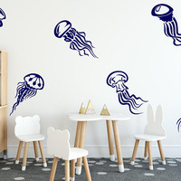Set Of 6 Jellyfish Decal, Jellyfish Vinyl,  Playroom Decal, Jellyfish Wall Art, Jellyfish Tattoo, Playroom Decor, Sea World  Nursery nm114