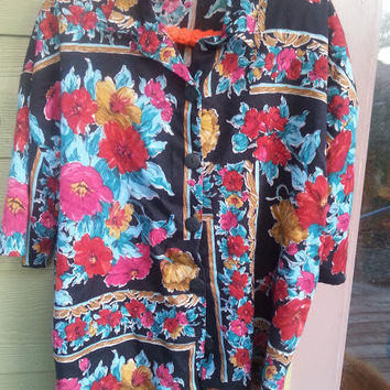 Vintage floral Roses 80s 90s oversize Blouse top Shirt Size 20
