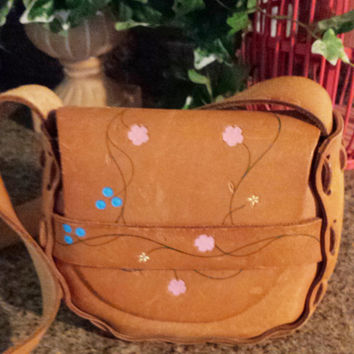 Vintage Hippie Tool Bag - Hand Painted Tan Leather - Embossed Floral Purse - 60s Bag - 70s Saddle Bag - Small - Medium - Pink Blue Yellow