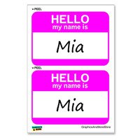 Mia Hello My Name Is - Sheet of 2 Stickers