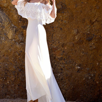 Sheer Ruffle Embroidered Mesh Lace Off Shoulder White Hippie Boho Wedding Dress Gown with Train Jersey Saldana Vintage