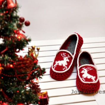 Crochet Slippers Christmas Deer Red White Slippers xmas gift Custom made