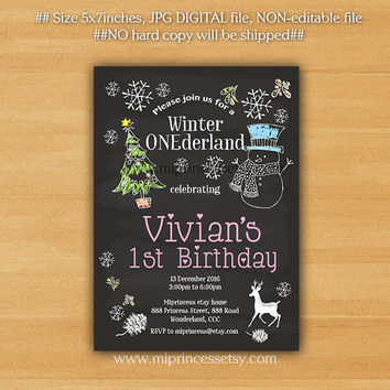 Winter Onederland Invitation, girl 1st birthday invitation , christmas tree snowman, winter theme  - card 872