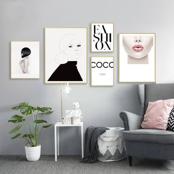 SURE LIFE Modern Fashion Makeup Body Art Canvas Paintings Beauty Poster Print Wall Art Pictures for Living Room Home Decor