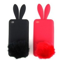 2 Cases for Apple iPod Touch 4 (iTouch 4th Gen) Bunny Skin Cases, Pack of 2: Black & Red [Cellular Connection Packaging]