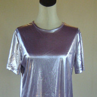 Liquid Purple Shiny Shirt Top Club Kid