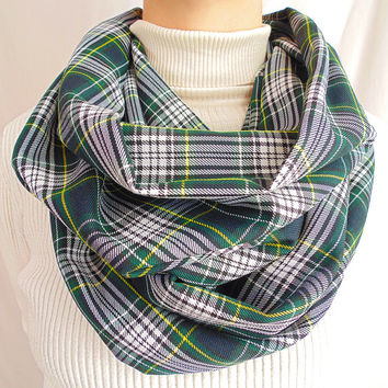 Green Plaid Infinity Scarf, Green & Yellow Tartan, Winter Scarf, Spring Scarf, Womens Scarf, Oversize Scarf, Extra Long and Wide, Gift