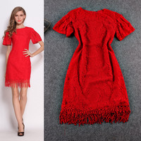 Lace Embroidered Flounce Sleeve Fringe Edge Mini Dress