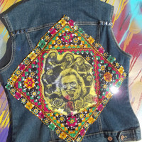 Jerry Garicia Upcycled Psychedelic Mirror Textile Studded Denim Vest
