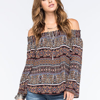 Living Doll Off The Shoulder Womens Peasant Top Multi  In Sizes