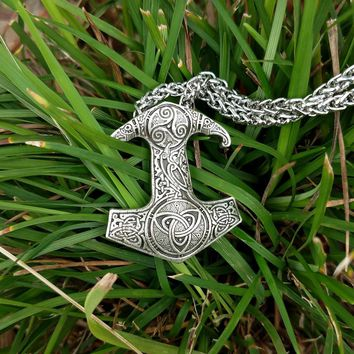 LANGHONG Legendry Thor's Hammer pendant Necklace Norse Viking Thor's Hammer with Raven Necklace Jewelry Talisman