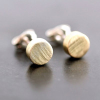 Geometric Modern Post Earrings, Brushed Golden Brass Polka Dots Sterling Silver Stud Earrings Circles - Made to Order