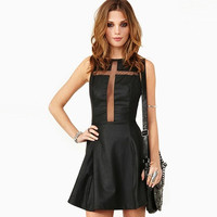 Black Cutout Mesh PU Sleeveless Dress
