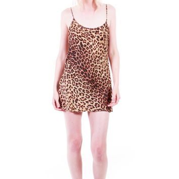 90s Vintage Silk Leopard Print Mini Dress Top Silky Soft High Slit Tank Cami Grunge Goth Slip Dress Clothing Womens Size Small Medium