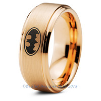Batman Tungsten Wedding Band Ring Mens Womens Brushed Beveled Yellow Gold Comic Geek Anniversary Engagement
