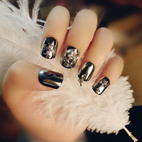 24 PCS Skull and Retro Cross Shape Metal Color Nail Art