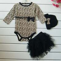 Baby Girls 3PC Leopard Skirt Romper