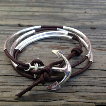 Leather Wrap Bracelet, Silver Tube Beads, Silver Anchor, friendship bracelet