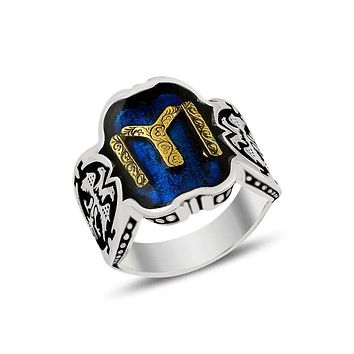 Turkish monogram blue enamel band silver mens ring